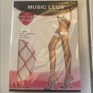 Red big net thigh high music legs stocking